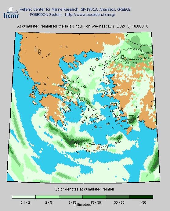Βροχόπτωση την Τετάρτη (το χρώμα δηλώνει το αθροιστικό ύψος της βροχόπτωσης)