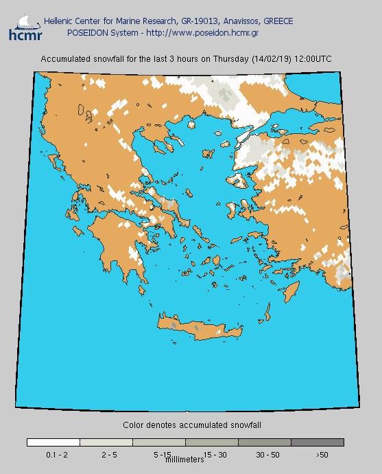 Χιονόπτωση την Πέμπτη (το χρώμα δηλώνει το αθροιστικό ύψος της χιονόπτωσης το τελευταίο 3ωρο.)