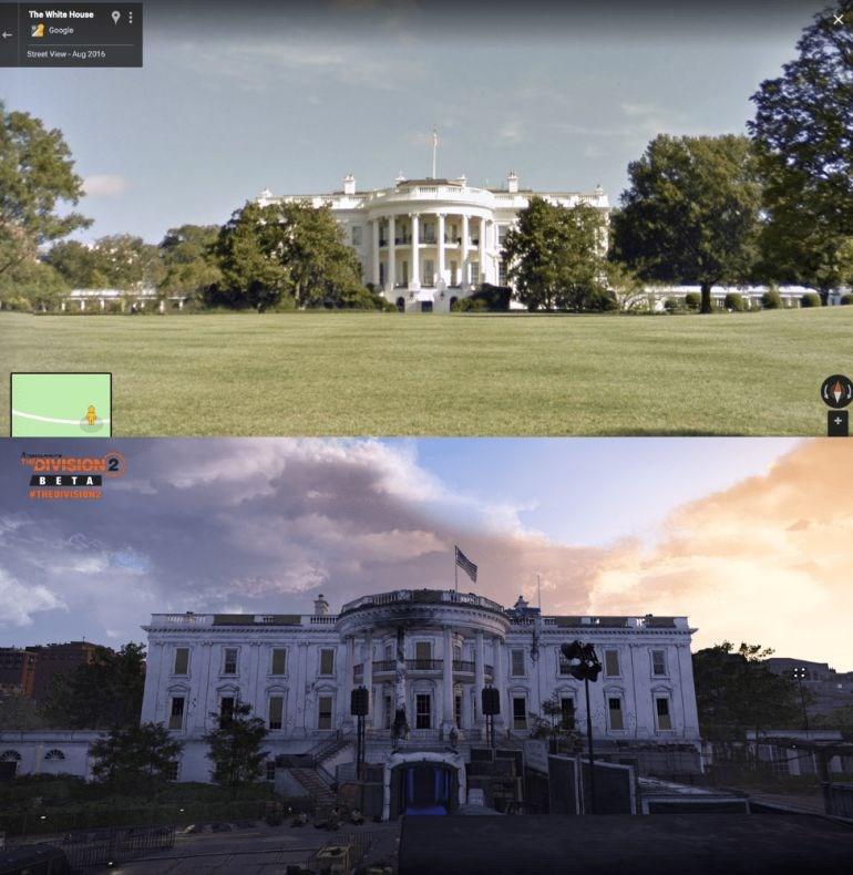 O Λευκός Οίκος: Πραγματική φωτογραφία (πάνω) - The Division 2 (κάτω)