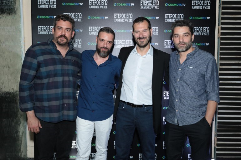 Πυγμαλίων Δαδακαρίδης, Σωτήρης Τσαφούλιας, ο Executive Director της COSMOTE TV, Δημήτρης Μιχαλάκης και ο Πέτρος Λαγούτης