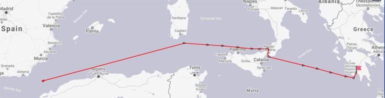 στις 10.00 ώρα Ελλάδος το ιρανικό τάνκερ βρισκόταν στα ανοιχτά των ακτών της Αλγερίας πάνω από το Ουαχράν και κάτω από την Καρθαγένη της Ισπανίας